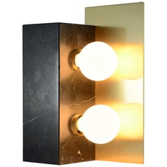 """""""Cubus"""" Table Lamp in Satin Marquinha Marble and Satin Brass"""
