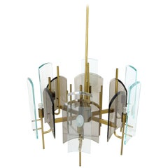 Clear and Fumé Glass Cristal Art Chandelier, Italy, circa 1960