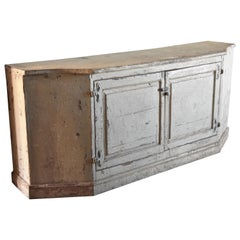18th Century Italian Cabinet Buffet Painted Creamy with Blue Washed Interior