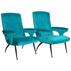 Italian Armchairs or Lounge Chairs Restored in Petrol Velvet, 1950s