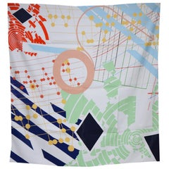 Music Graphics Contemporary 100% Silk Scarf Minimal Colorful