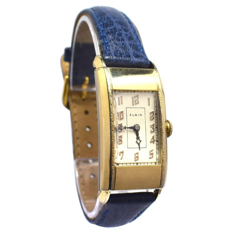 Superb Art Deco Gents Gold Plated Wrist Watch by Elgin Dated 1937 For Sale