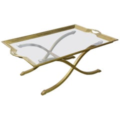 Maison Jansen Style Brass and Glass Tray Coffee Table on Stand