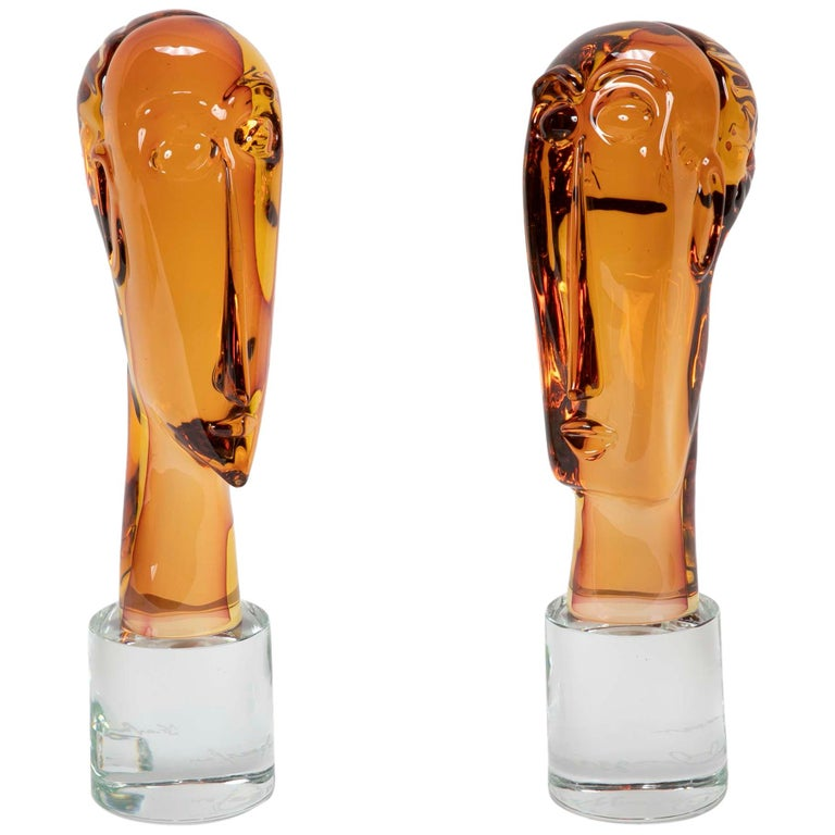 Homage to Amedeo Modigliani Pair of Murano Glass Figures  For Sale