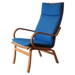 Danish Midcentury Lounge Chair with Electric Blue Original Upholstery
