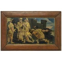 Verre Églomisé Painting of Soldiers Outside Castle