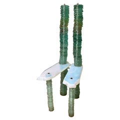 """Solomon"" Chair Sculpture by Danny Lane in Stacked Glass, 1988"