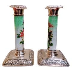 Edwardian Pair of Silver Enamel Candlestick