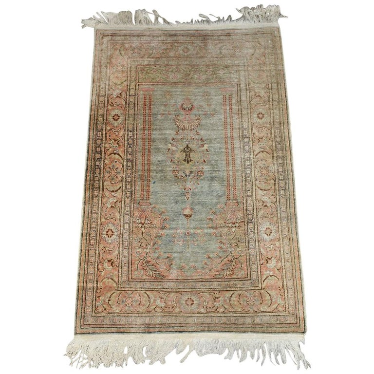 Antique Wool Oriental Scatter Rug For Sale