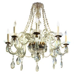 Italian Art Deco Murano Crystal Chandelier