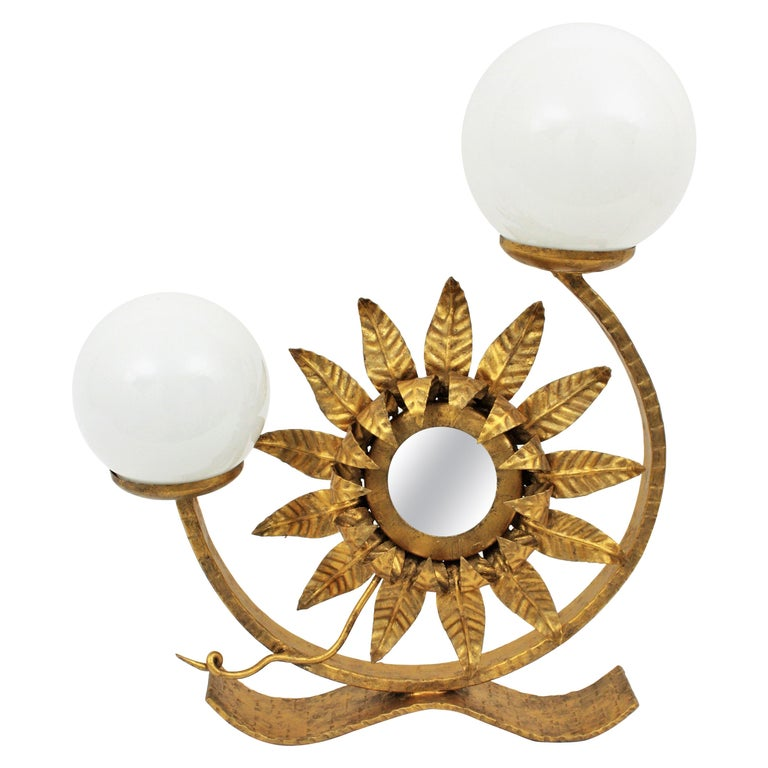 Spanish Gilt Iron Sunflower Sunburst Mirror Table Lamp with Milk Glass Globes For Sale
