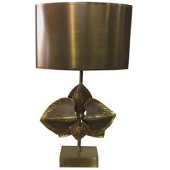 Maison Charles Bronze Orchid Lamp, Signed