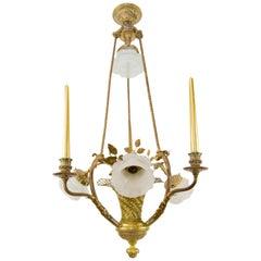 Belle Époque Seven-Light Bronze Basket Chandelier