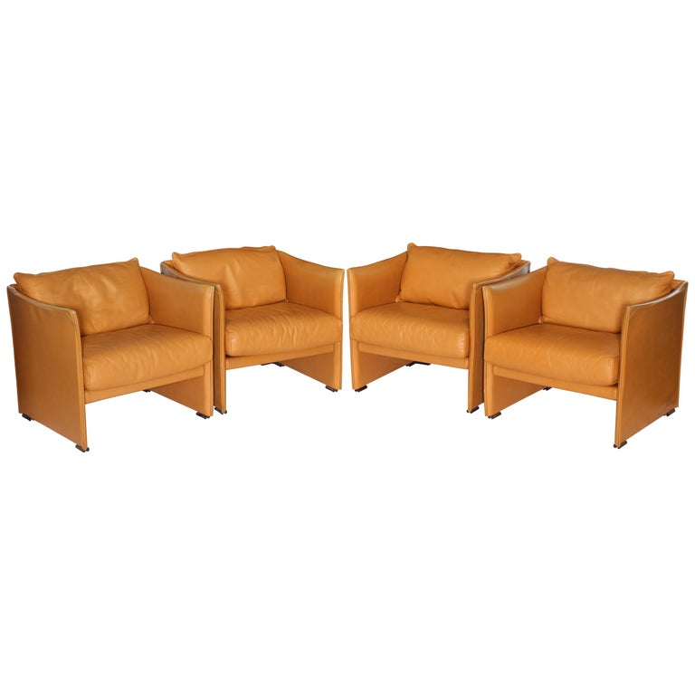 Mario Bellini Tilbury Leather Armchairs For Sale