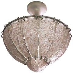 Feuilles de Charme Glass Ceiling Fixture by René Lalique, France 1920s