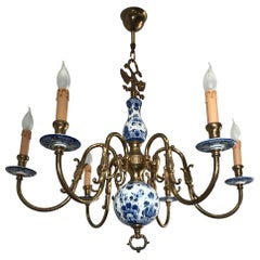 1930s Brass and Porcelain Delft Blue Chandelier, Double Headed Eagle Sculptures