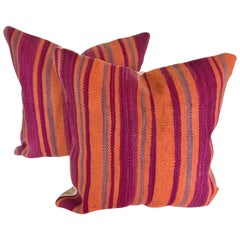 Custom Pillows Cut from a Vintage Moroccan Wool Berber Rug, Atlas Mountains