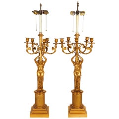 Large Pair of French Empire Style Gilt Bronze Five-Light Candelabra Lamps