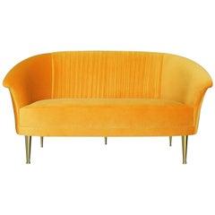 """Mid-Century Modern """"Hollywood"""" Golden Yellow Velvet Upholstered Living Room Sofa"""