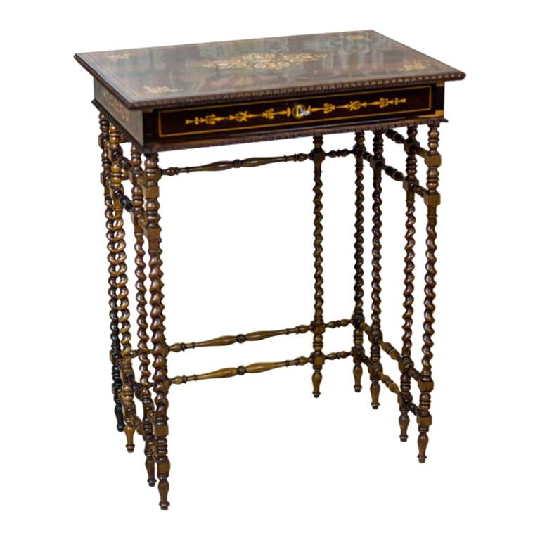 French Intarsiated Table from the 19th Century For Sale