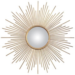 Large French Midcentury Large Solid Ray Sunburst Convex Mirror