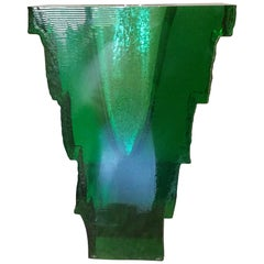 Monumental John Lewis Green Sculptural Studio Glass Vase, circa 1980s