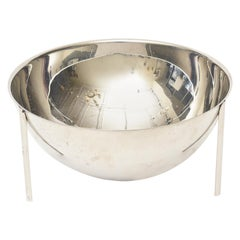 Signed Enzo Mari Round Architectural Stainless Steel Bowl