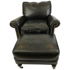 Sexy Black Leather Custom Club Chair and Ottoman