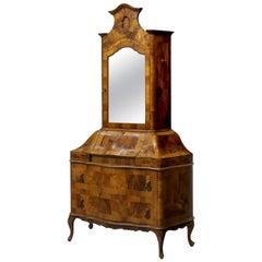 PIX Italian Rococo Style Walnut Bombe Secretary Cabinet