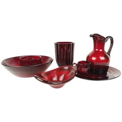 Set of Rubin Red Glass Reijmyre, Sweden, 1960s