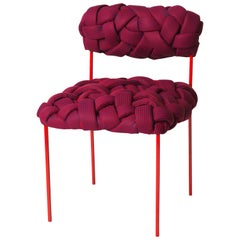 """Cloud"" Contemporary Chair with Handwoven Red Upholstery"