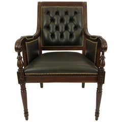 Power Broker Rich Hancock & Moore Black Leather and Mahogany Armchair