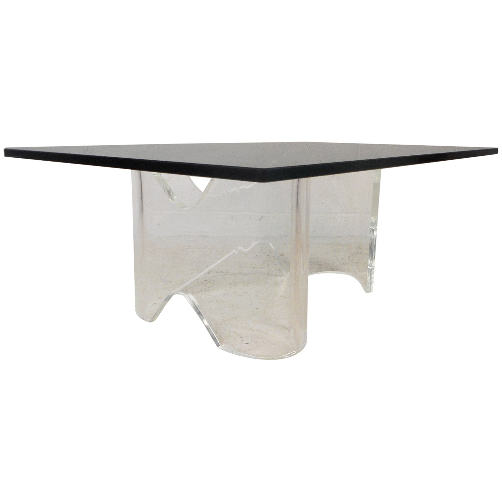 Mid-Century Modern Lucite Coffee Table with a Glass Top