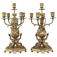 Pair of 19th Century French Renaissance Dolphin Candleabra