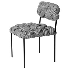 """Cloud"" Contemporary Chair with Handwoven B&W Upholstery"