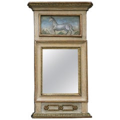 Swedish Neoclassical Mirror with Painted Panel with Horse