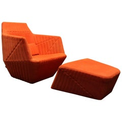 Modern Facett Lounge Chair and Ottoman by R. & E. Bouroullec for Ligne Roset