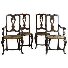 Set 4 Rush Seat Chairs