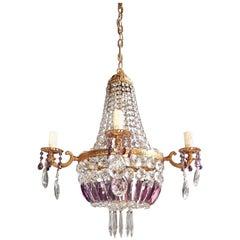 Empire Sac a Pearl Purple Chandelier Crystal Lustre Ceiling Lamp Basket Antique