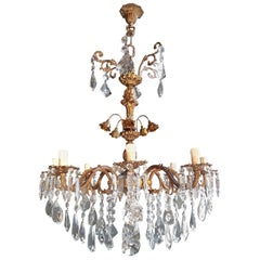 Candelabrum Chandelier Crystal Brass Lustre Ceiling Lamp Antique Art Nouveau