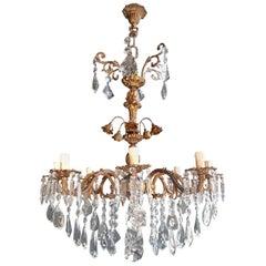 Candelabrum Chandelier Crystal Brass Lustre Ceiling Lamp Antique Art Nouveau
