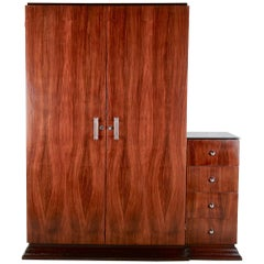 French Art Deco Macassar Ebony Armoire Wardrobe Cabinet
