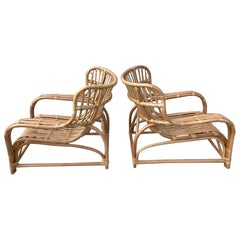 Pair of Midcentury Rattan Scoop Chairs, Restored