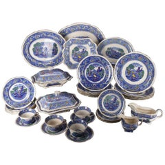 40-Piece Antique English Rhine Polychromed Ironstone Transferware Dinner Set