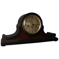Antique Junghans Westminster Inlaid Mahogany Tambour Mantel Chime Clock