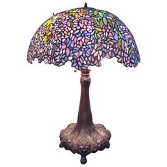 Tiffany Style Stained Glass Art Nouveau Art Glass Table Lamp
