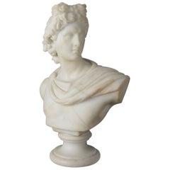 Antique Italian Carved Alabaster Sculpture of Augustus Caesar, circa 1900