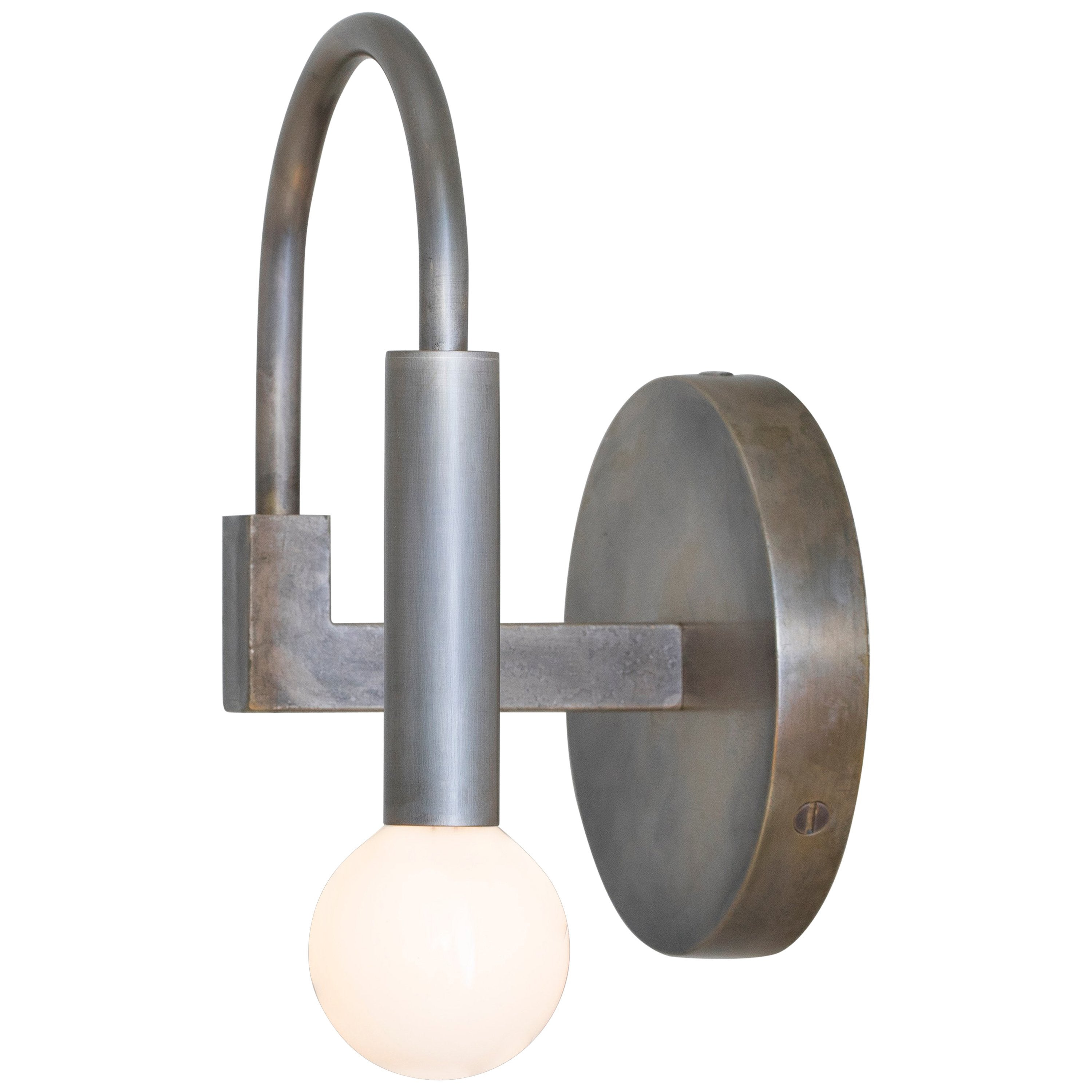 Arch a contemporary wall sconce in vintage silver available ada compliant