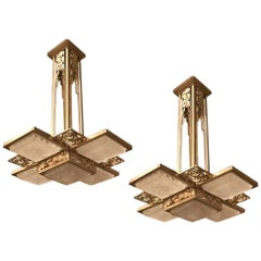 Pair of French Art Deco Geometric Chandelier Signed by Muller Frères Luneville