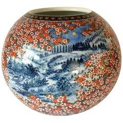 Japanese Hand Painted Blue Red Imari Porcelain Vase, Contemporary Master Artist